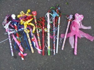 Decorated sticks used in the Maypole dancing