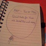 Image showing a notebook with a note made about the MBF meeting in May on Social Media