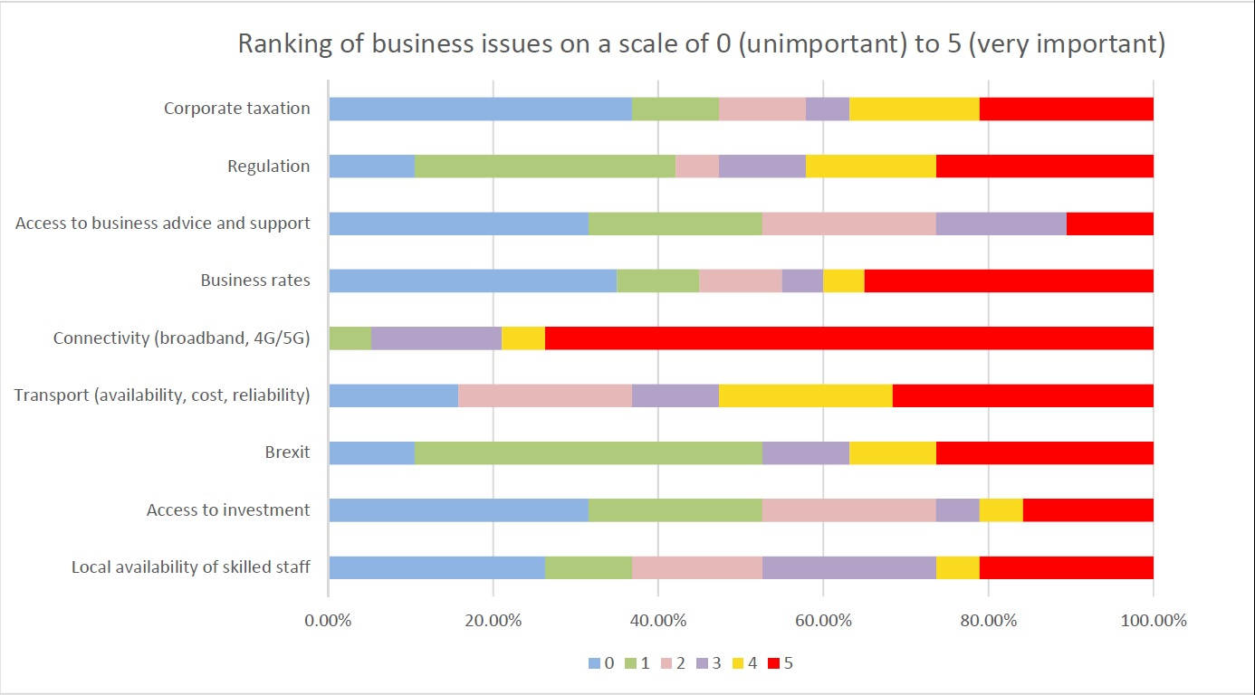 Chart showing ranking of business issues with connectivity rated highest