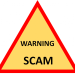 Image of triangle with Warning and Scam written inside