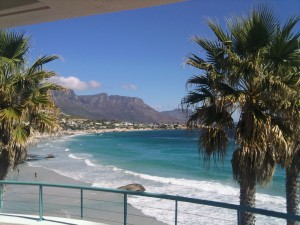Image of palms trees, beach and mountains behind in sunshine